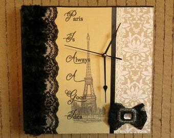 Wall Clock, Modern Contemporary Wall Phrase Art Decor, Womens Gift Black, Cream Lace, Paris Nchanted Gifts, OOAK