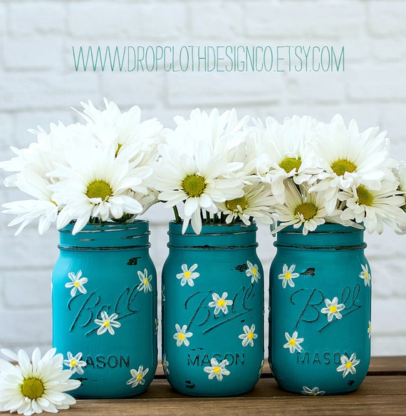 Mason Jar Wedding Ideas: Daisy Mason Jar Set Teal Mason Jars Painted And Distressed