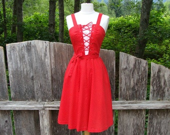 70's Lace Up Dot Dress
