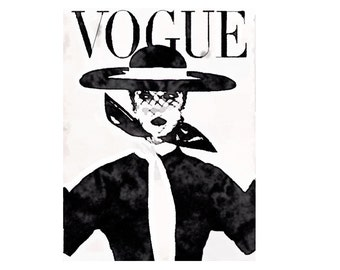 Vogue Cover Art Archival Vintage Vogue Fashion Illustration Print from Watercolor Painting, Black and White