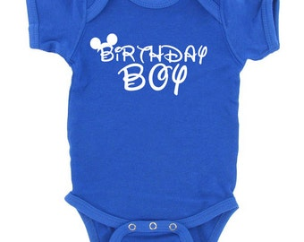 disney world BIRTHDAY BOY mickey mouse toddler tshirt or baby bodysuit