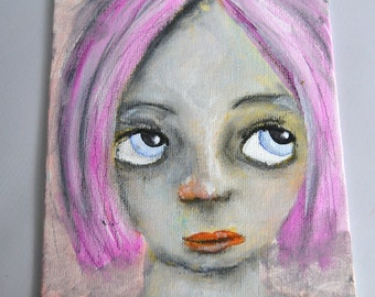 SALE Milly, 5x7 inch Original Painting, Small Work, Girl Portrait Painting, Woman's Face, Pink Purple Hair, Blue Eyes, CraftyMoira