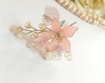 Bridal headpiece, wedding headpiece, pink headpiece, crystal headpiece, flower headpiece, floral headpiece, headpiece bridal, headpiece