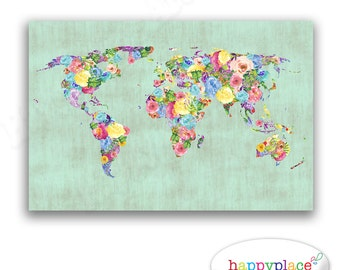 Mint Green Vintage style Watercolor Flower World Map Print. Printable high resolution image 11x14in. Kitchen Print & Baby Girl Nursery art