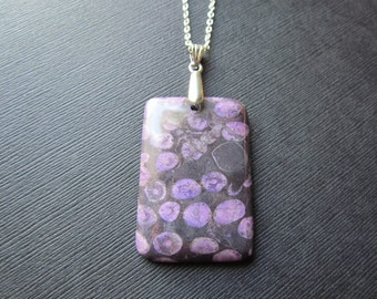 Coral Necklace - Fossil Jewelry - Purple Coral Pendant - Fossil Necklace - Fossilized Pendant -