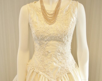 Vintage Beaded Pure Silk Ballgown Demetrios Wedding Dress