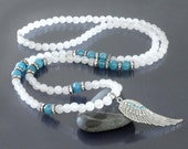 Angel wing necklace 108 beads mala necklace 108 Prayer beads necklace Meditation balance and calm necklace Blue quartz & white jade necklace