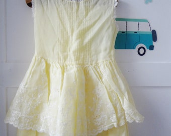 Vintage dress, lemon lace dress, summer dress, ra ra skirt ...