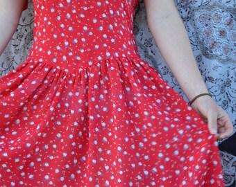 Red vintage dress floral print prairie gunne sax style chiffon short sleeve