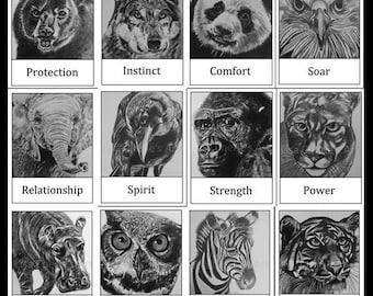 Wild Animal Oracle Cards + Free Shipping Worldwide ~ spirit animal guide cards, animal guides, wild animals, animal art,spiritual art