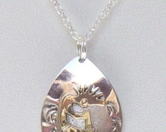 Kokopelli Jewelry, Kokopelli Jewelry with 12K Gold Fill,Sterling Silver Kokopelli Jewelry with 12K Gold Fill,Raindrop Kokopelli jewelry