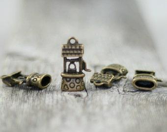 Wishing Well Pendant Large Charms - Antique Bronze - 4 Pendants