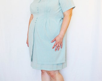Plus Size - Vintage Sage Gingham Sheath Dress (Size 20)