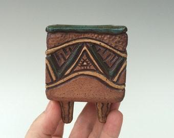 Small Square Hand Built Aztec Planter Vase - Blue Green, Brown, Tan - Succulents - Air Plants - Footed - Original & Unique!