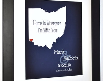 Valentines day, gifts for fiance, gift for men, gifts for a baker, door decor, star ohio state map, columbus map, ohio art print, custom