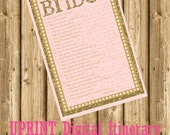 INSTANT DOWNLOAD- Pink and Gold Glitter Printable Wedding Bridal Shower Game - How Well Do you Know the Bride?