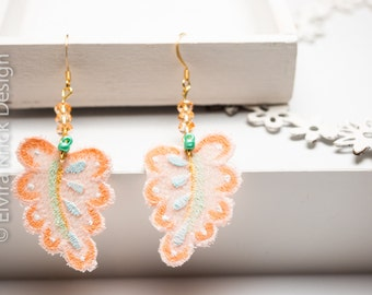 Handpainted earrings, salmon pink lace earrings, long romantic dangle earrings, handpainted lace, wedding jewelry, dutch jewelry