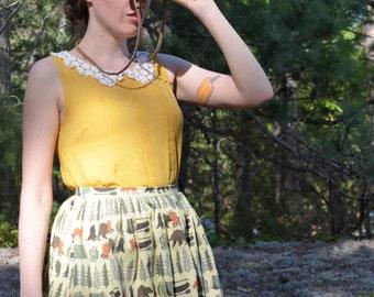 Khaki & Green Camping Print Skirt / Into the Woods Skirt