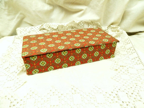 Vintage Red Fabric Covered French Provencal Wooden Box from France,  French Country Decor, Retro Cloth and Wood Sewing Storage Container
