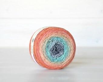 Hand Dyed Gradient Yarn - 100% Wool - Color: South Beach Ombre - 1Ply Sport Yarn - Colorful Soft Yarns by Freia - Sport Wool Yarn - Sport