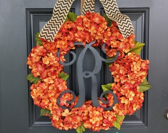 Fall Wreath, Hydrangea Wreath, Monogram Wreath, Halloween Wreath, Autumn Wreath, Front Door Wreath, Orange Wreath, Floral Wreath
