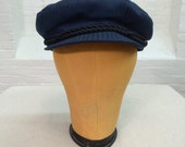 vintage navy blue cap // workman's cap // fisherman's cap // Maciejówka cap // made in Poland