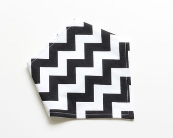 Adjustable Bandana Bib || Chevron Black and White