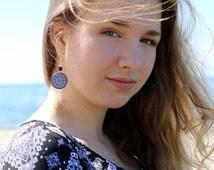 Black White Earrings, Sterling Silver Earwires, Natural Stone Jewelry, Decoupage Earrings, Bohemian Everyday