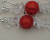 Quartz Dangle Earrings, Red Bead Dangle Designer Earrings, White Crystal Quartz Drop Earrings, Handmade in Edinburgh, Scotland U.K.