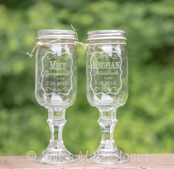 Bridesmaid Groomsman set of 2 Redneck Wine Glasses to add to our Bride and Groom set 16oz Mason Jar Wine Glasses