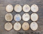 25 small wood slice ornaments, with holes, tree branch slices, pendants, wood jewelry, clear grain, rustic weddings, Christmas decor, tags