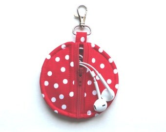 Circle Zip Earbud Pouch / Coin Purse - Red and White Polka Dots