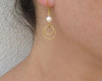 Gold loop earrings, Pearl and gold earrings, June birthstone