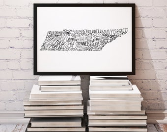 State of Tennessee Typography Print; Wall Decor; Christmas Gift; Wall Art; Wedding Anniversary Engagement Graduation Gift Decor