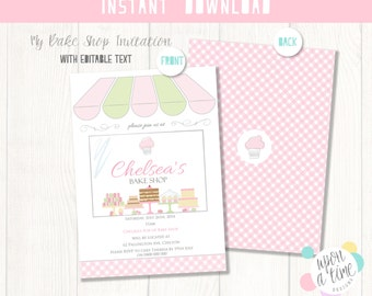 Bake Shop Invitations - Instant Download - Enter Your Own Text - Editable Baking Party Invitations