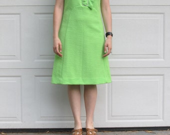 1970s lime green mod party dress, medium