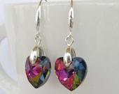 multicolor faceted heart dangling drop silver earrings crystal dangling earrings wedding earrings bridesmaid earrings bridal jewel