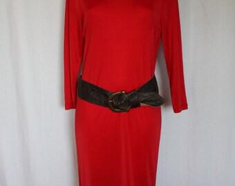 Long red jersey knit dress