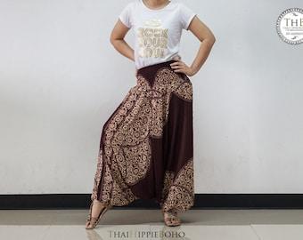 Fine Art Boho Harem Pants, Hippie Pants, Gypsy Aladdin Genie Pants, Yoga Pants (Brown)