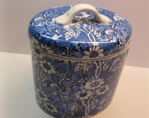 James Kent England,  Biscuit Jar, Oval Lidded, Blue and White,  Louis IV Pattern