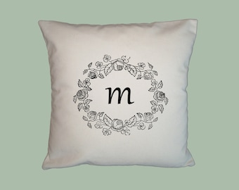 Simple Vintage Floral Wreath monogram design - Personalized HANDMADE 16x16 Pillow Cover - Choice of Fabric, image in ANY COLOR