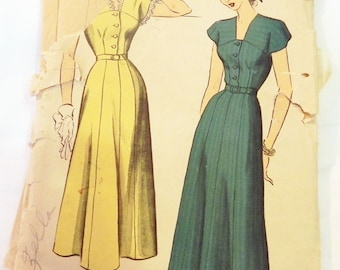 1940s Button Front Day Dress Plus Size sewing pattern Advance 5027 Size 20 Bust 38""