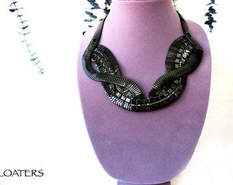 Black Statement Necklace, Bohemian Necklace, Black Chain Necklace, Bohemian Jewelry, Chunky Black Necklace, Black Bib Necklace