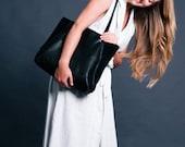 BLACK Leather Tote - Soft Leather bag - Women Bag - Tote Bag - Magnetic closure - Miri bag