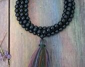 Beautiful onyx gemstone japa mala necklace