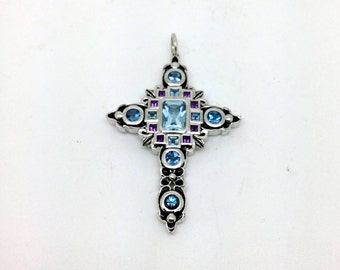 18ct White Gold Cross with Emeralds and Amethysts
