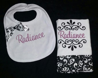 Baby Girls Personalized Bib and Burp Cloth Set