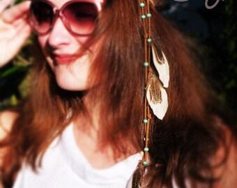 Handmade Feather Headband, Leather headband, leather headress, Hippie Feather Headband, festival headband, boho headband