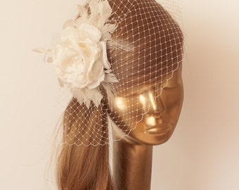 Ivory  BIRDCAGE VEIL with darker Ivory Flower, Vintage Style Bridal FASCINATOR.
