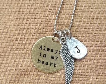 Memorial necklace, handstamped memorial necklace, charm necklace